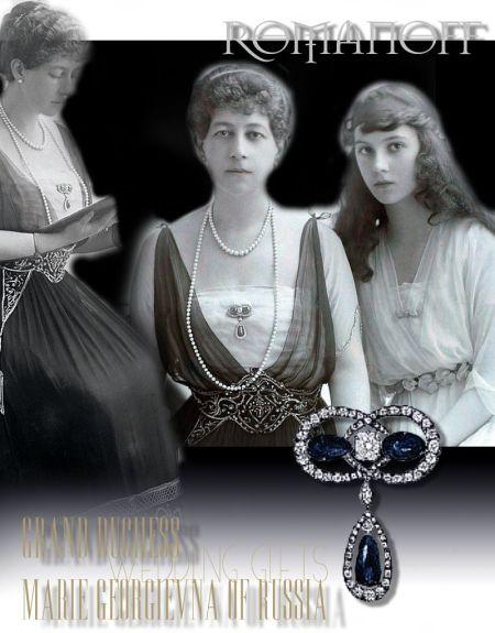 Romanov Sapphire and Diamond Brooch|Grand Duchess Marie Georgienva of Russia |Princess Maria of Greece and Denmark|Royal Jewel History