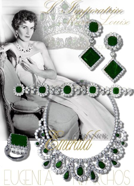 Marie-Louise Imperiatrice of France, historic emeralds from the imperial Emerald tiara. Later owned by Mrs Stavros Niarchos,  Eugenia Livarnos, Emerald Ring Emerald Necklace and Emerald Bracelet, Emerald Earrings, and Emerald earrings pendants, made in platinum from Van Cleef and Arpels.
