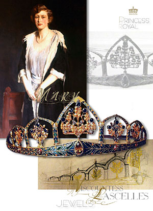 The Princess Royal's Gothic Tiara- Enamel,Sapphire,Citrine and Diamond Arts and Crafts Diadem | The Princess Royal, Countess of Harewood owned an Arts and Crafts tiara