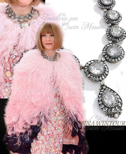 Oscar Massin Jewelry | Famous Important Jewels History| Diamond Necklace Anna Wintour Anna Wintour is seen with a new treasure from her jewelbox at the Met Gala 2019.