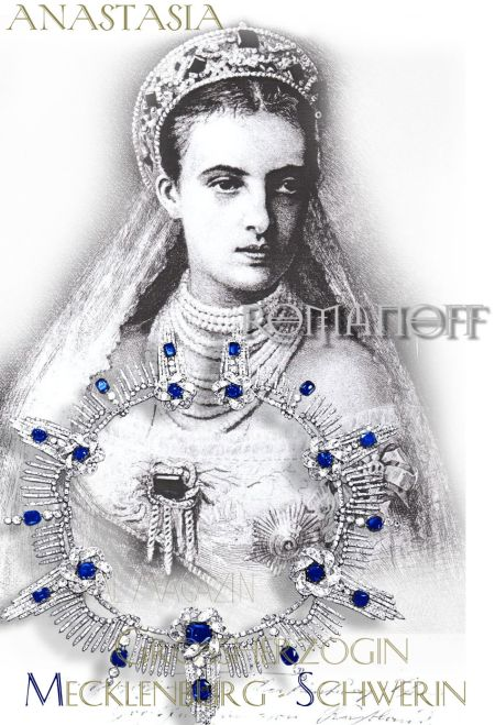 Grand Duchess Anastasia Mihailovna Romanov Imperial Sapphires | Sapphire Parure of Grand Duchess Olga Fjodorovna collier sapphire necklace  Grand Duchess Anastasia Mihailovna Romanov with the sapphire necklace of her mother, Grand Duchess Olga Feodorovna, who died in 1891.  Anastasia Michailovna Romanov inherited part of her mother's enormous jewelry collection, including an extensive rare collection of rubies that she had Boucheron and Chaumet remodeled, as well as this Sapphire and Diamond Parure with Sapphire Kokoshnik and Saphir Diamant Devante de Corsage, in knot optics and diamond fringes.  The Romanov Sapphire are later owned by their brother, Grand Duke Mikhail Mikhailovich Romanov, who sells them to Henry Lascelles, later the Earl of Harewood