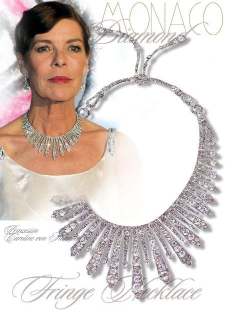 Princess Caroline Art Deco Diamond Fringe Necklace, from her grandmother Princess Charlotte of Monaco, Duchess of Valentinois Diamond Fringes Fringe tiara