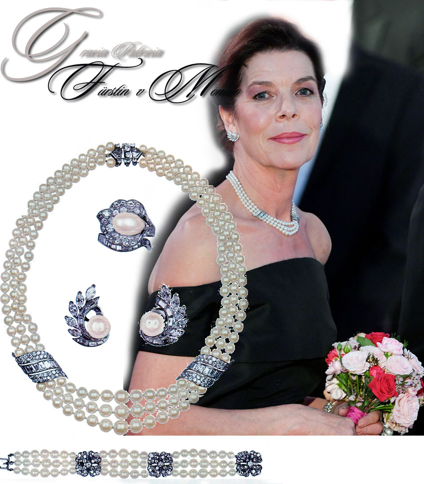Princess Caroline of Hanover, at the Bal de la Rose 2019 in Monaco, wore her mother pearls, a wedding gift from her father Prince Rainer.