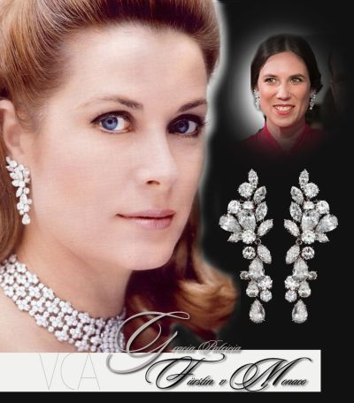 Rose Ball 2019 To Benefit The Princess Grace Foundation In  Princess Grace of Monaco large Diamond Earrings in Flowers style |Royal Jewelry| Van Cleef & Arpels | Tatiana Cashiraghi Monaco Grimaldi