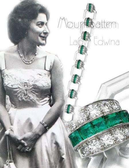 Rock crystal, emerald and diamond bracelet|Countess Mountbatten of Burma|Lady Edwina Royal Jewels History| Lady Pamela Knatchbull Royal jewels england
