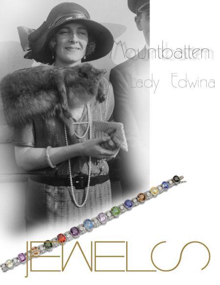 A wedding present to Edwina from Louis - a gem set and diamond bracelet, 1920s |Countess Mountbatten of Burma|Lady Edwina Royal Jewels History