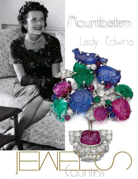 Emerald, sapphire, ruby and diamond jabot pin 1930s of Tutti Frutti inspiratio |Countess Mountbatten of Burma|Lady Edwina Royal Jewels History