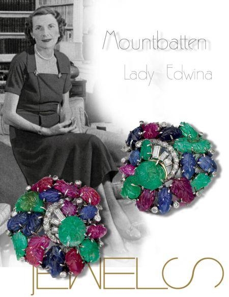 Pair of gem set and diamond clip brooches 1930s of Tutti Frutti |Countess Mountbatten of Burma|Lady Edwina Royal Jewels History