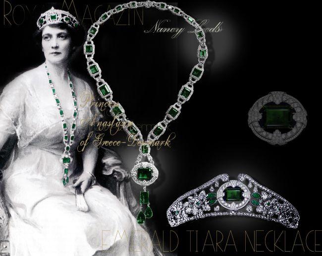 Anastasia Princess of Greece-Denmark| Famous Emerald Tiara Emerald Brooch Long Emerald Sautoir |Nancy Leeds |Royal Jewels History Emeralds