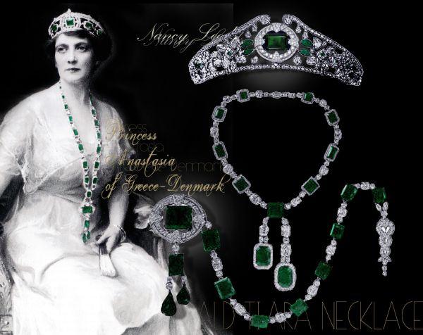 Anastasia Princess of Greece-Denmark| Emerald Diamond Tiara|Emerald Epaulette Brooch| Emerald Diamond Necklace|Nancy Leeds|Royal Jewels History Important Emeralds