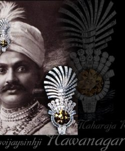Famous, Important Diamond | Eye of the Tiger |Aigrette Maharaja Digvijaysinhji, son of the Maharaja Ranjitsinhji of Nawanagar Cartier: the «Tiger Eye», an exceptional cognac-coloured diamond mounted in a turban ornament