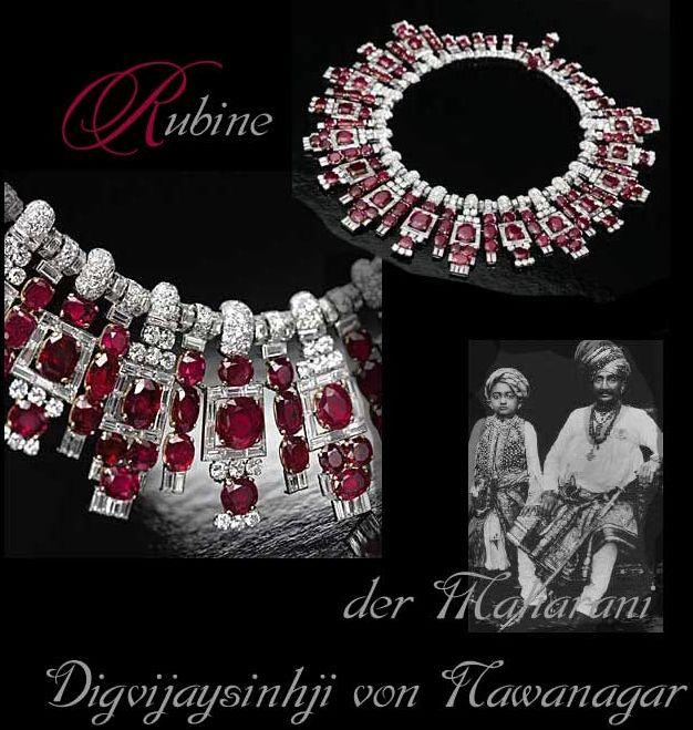 Nawanagar - Royal Jewels Ruby Diamond Necklace Maharaja Mughal|Das Rubin-Collier der Maharani von Nawanagar  Nawanagar Cartier Necklace with Ruby and Diamonds