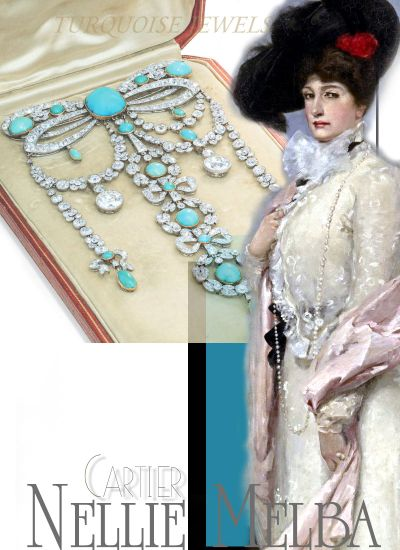 Dame Nellie Melba | BELLE EPOQUE TURQUOISE AND DIAMOND BROOCHES| Noble Jewel History