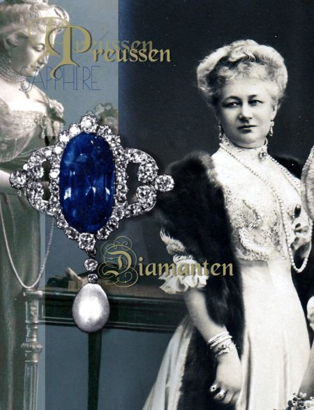 Large Sapphire Diamond Stomacher Brooch | Empress Auguste Victoria Prussia | Royal Jewels | Germany