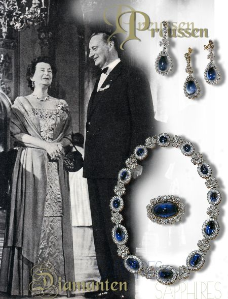 Princess Kira Shamrock Sapphire Diamond Necklace and Pendants | Grand Duchess Kira wearing Empress Auguste Victoria of Prussia Royal Jewels | Germany