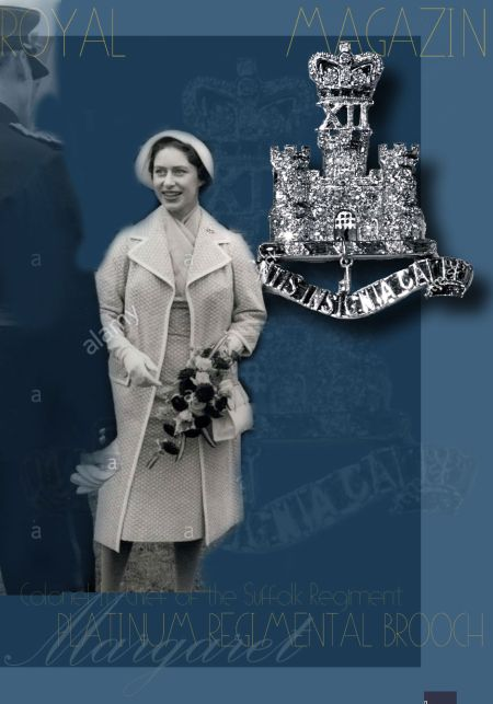 Suffolk Regiment Badge-brooch Of Emeralds and Rubies And Diamonds Set In Platinum | Princess Margaret of England Great Britain Countess Snowdon| Royal Jewel History
