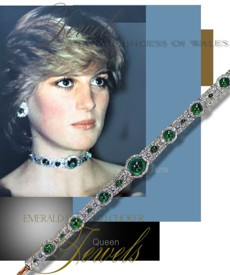 Princess of Wales jewels . From the British royal family : i. The Cambridge Lovers' knot tiara; ii. Diamond and emerald art-deco choker; iii. The Swiss Federal republic's watch ; iv. The pearl and diamond earrings (as a wedding gift from QEII) ; v. The family royal order; vi. Large sapphire and diamond brooch converted in a necklace (wedding gift from Queen Elizabeth the Queen Mother)  b. From Prince Charles : i. Diamond and emerald art deco bracelet as a wedding gift + earrings (gift from prince Charles) + an emerald ring also a gift from Prince Charles; ii. A floral cluster diamond ring with a Bostwana stone (2 carats) from Prince Charles; iii. A grey and white pearl necklace;  c. Official gifts: i. The Oman sapphire and diamond demi-parure; ii. The diamond and sapphire tassel necklace – Gift from The Emir of Qatar; certainly broken into two bracelets, iii. The Saudi Arabian ruby and diamond demi-parure; iv. Emerald and diamond demi-parure (necklace and earrings); certaintly a gift from Golf, v. Gold jewels given in 1989 during the Gold tour  II. Jewels worn by the Duchess of Cornwall:  a. The Prince of Wales feathers' diamond and emerald pendant (engagement present from Queen Elizabeth the Queen Mother – Return to the vault and maybe worn by the Duchess of Cornwall)  III. Jewels worn by the Duchess of Cambridge:  a. Her sapphire and diamond engagement ring; b. Collingwood diamond and pearl dangle earrings; (wedding gift) c. A diamond and south sea pearl earrings; d. Pearls a from ruby, diamond and pearl earrings; e. A triple-row pearl and diamond spacer bracelet (bought be Princess Diana in 1989) f. A four-row pearl bracelet worn at the state diner by by Queen Beatrix of Netherlands in 1982 (Maybe on loan from QEII);  IV. Jewels worn by the Duchess of Sussex:  a. Emerald-cut aquamarine ring; (personal gift) b. A diamond Tennis Bracelet from Cartier; c. Gold and Sapphire bracelet; (personal gift) d. Diamond and Sapphire Butterfly Earrings -made from an unknown gol