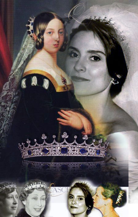 Countess Harewood, wedding - earpendant Andrea Lady  Lascelles wore sapphire and diamond earrings on her wedding and later together with Queen Victorias Sapphire Coronet Romanov Sapphires from Grand Duchess Olga Feodorovnas Sapphire parure  - two items in the family