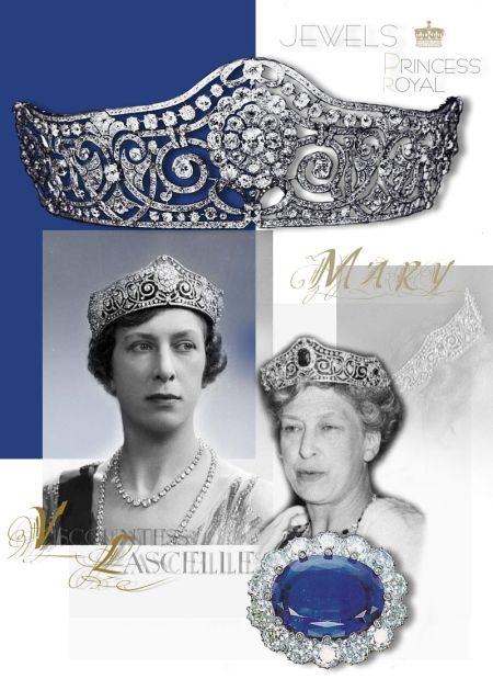 Princess Royal's Diamond Scroll Tiara  A versatile and highly important diamond tiara, composed of six graduated diamond clusters each intersected by diamond collet and riband scrolls forming heart-shaped centres enclosed in a diamond collet and riband frame forming a small bow above five of the clusters. The six clusters are all detachable for alternative use. The provenance is not known, but it looks like a Russian item, very solid in workmanship and with fine diamonds. It could have been bought from one of the Russian imperial family members. The tiara was offered at the 1970 auction of the Princess Royal's jewels and sold for £9,500.     The Princess Royal's Sapphires – Queen Mary's Sapphire and Diamond brooch| Royal Jewel History