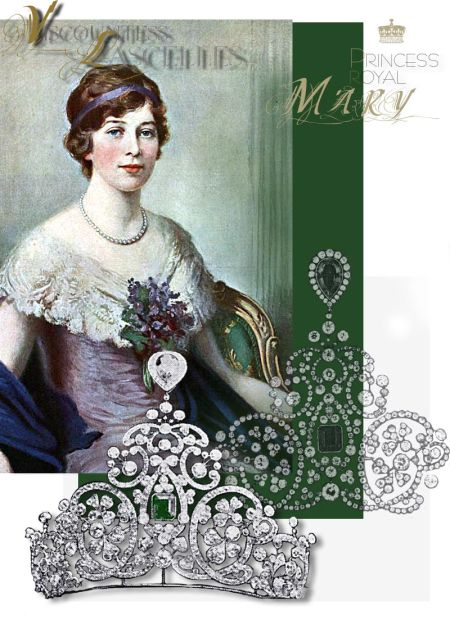 Princess Royal VAD`s Tiara| Emerald and diamond tiara with large diamonds set in a shamrock pattern  as  Clover leaf Trefoils Shamrock Kleeblatt Strawberry leaf Tiara Coronet Diadem