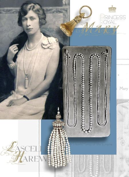 The Princess Royal's Pearls and Pearl Ropes Rope of Pearls presented by the Marys of the Empire  Large Oval Sapphire Cluster Brooch on her shoulder-wedding gift from Queen Mary