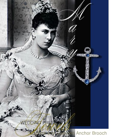 Another of the royal wedding gift from the Duke of York, later King George, to his bride was a large and decorative anchor of big single diamonds in line, with two large sapphires, the royal bride wore it on her wedding gown very prominent on the wedding day. The whereabou is unknown.