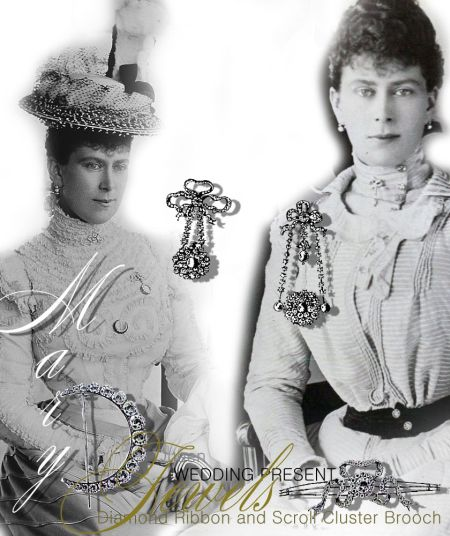 Ribbon and Bow diamond Pearl brooches and Bracelet| Present Royal Wedding Gifts| Royal Jewels Queen Mary England  Some wedding gifts are in the picture above from:    A diamond and scroll cluster bracelet from the Countess and two ladies of Fitzwilliam A diamond watch from Alice de Rothschild - on a three ribbon bow, twelve diamonds between Diamond Pearl Pendant - brooch stutted with large black pearls from Lord and Lady Rothschild    Town of Swansea diamond crescent brooch  A deputation from Swansea, consisting of the Ma