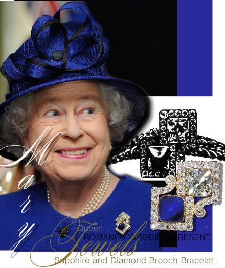 Sapphire Cachochon and diamond curb chain bracelet presented by the Emperor and Empress of Imperial Russia Wedding gift of the Czar| Sapphire Cabochon and diamond brooch pendant| Romanov Present Royal Gifts| Royal Jewels Queen Mary England
