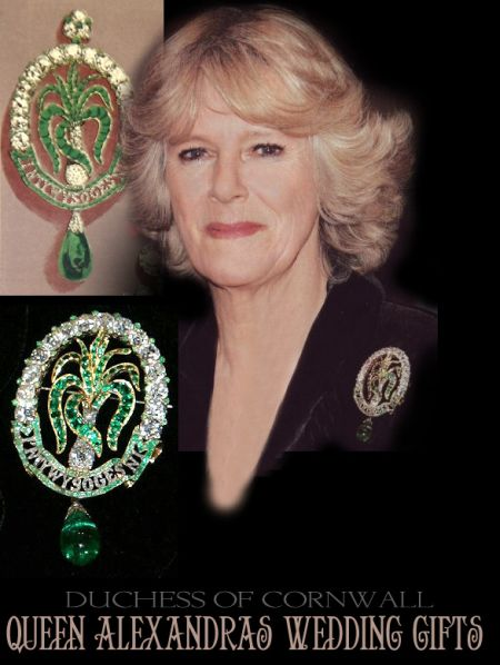 Ladies of North Wales brooch with Emeralds worn by the Duchess of Cornwall | British Royal Jewels History meraldbrooch the queen queensjewels royalty royals monarchy uk england british royal jewels,the crown,historicjewels joias emeraudes,queen,queenmother,leekbrooch,emeraldleekbrooch,diamondbrooch,diamonds royal weddings royalbrooch important brooch windsor