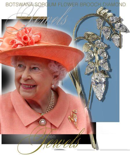 Queen Elizabeth II| Botswana Sorgum Flower Brooch with 11 Diamonds| Royal Jewels Great Britain and Irland