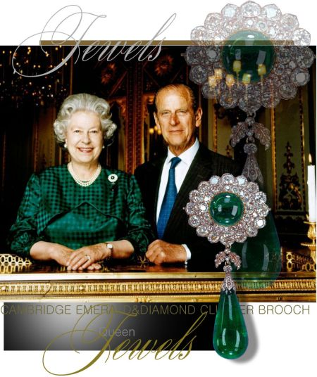 Queen Elizabeth II| Cambridge Cluster Emerald and Diamond Brooch with Emerald pendant|Royal Jewels Great Britain and Ireland historic emeralds Duchess of Teck queen marycambridgeemeralds cambridgeemerald cambridgeemeraldbrooch #royal #royalty #royalfamily #royaljewels #jewelry #diamond #emerald #stomacher #brooch #queenmary #thequeen #thecrown #history  #england #uk #britain #monarchy #britishmonarchy #britishroyals #britishroyalfamily #britishroyaljewels #jewels