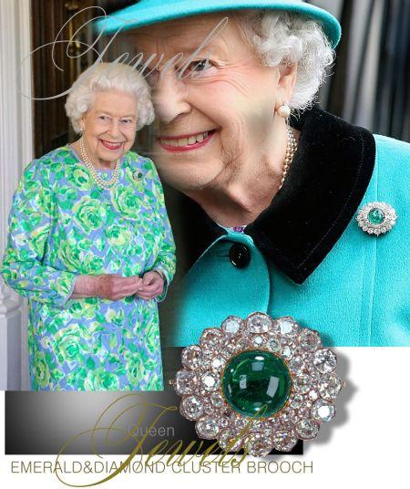Queen Elizabeth II| Cambridge Cluster Emerald and Diamond Brooch without Emerald pendant|Royal Jewels Great Britain and Ireland Queens brooch, kanzlerin merkel 2021 left from Queen Mary