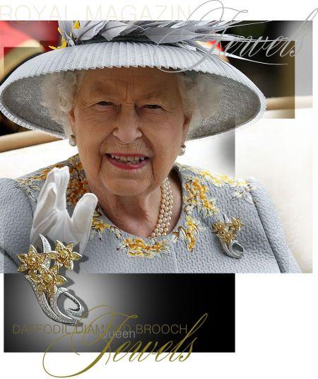Queen Elizabeth II | Daffodil Diamond Spray Brooch Gift of The Sultan of Oman | Royal Jewels Great Britain and Ireland | Diamond Jubilee gift - Present to   the diamond Coronation jubilee
