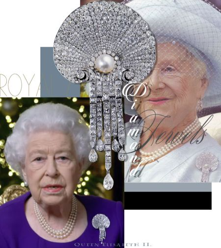 Queen Elisabeth II |Scallop Shell Diamond Brooch Sir Courtauld Thomson left to Queen Mother| Royal Jewels England| Royal Jewelry british jewels historic the queen England royalty royal brooch