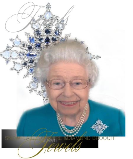 Sapphire Jubilee Snowflake Brooch, presented to her in 2017, the year of the Sapphire Jubilee by Canada. british royals #europeanmonarchy #europeanroyalty #queen #queenelizabeth #thequeen #hermajesty #britishroyalfamily #britishroyals #britishroyalty #englishroyals #englishroyalty #windsor #diamonds #jewelry #brooch #sapphire