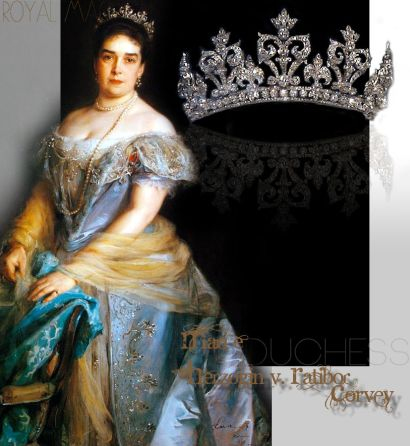 Duchess of Ratibor Corvey Honeysuckle Diamond Tiara| Marie Herzogin von Ratibor-Corvey Palmetten Diamant Diadem | Royal Jewel History Jewels Historic Jewellery Marie Herzogin von Ratibor-Corvey Palmetten Diamant Diadem | Historischer Schmuck und Juwelen der Herzöge Ratibor-Corvey