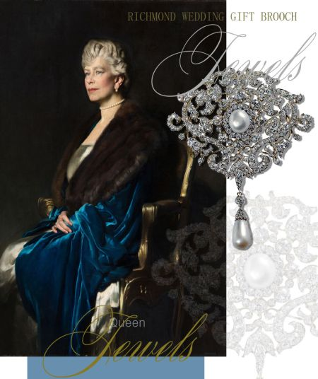 From the Town of Richmond Diamond Pearl Brooch| Present Royal Wedding Gifts| Royal Jewels Queen Mary England Richmond Diamond Pearl Brooch Queen ElizabethII | Present Royal Wedding Gifts from the Town of Richmond| Royal Jewels Queen Mary England