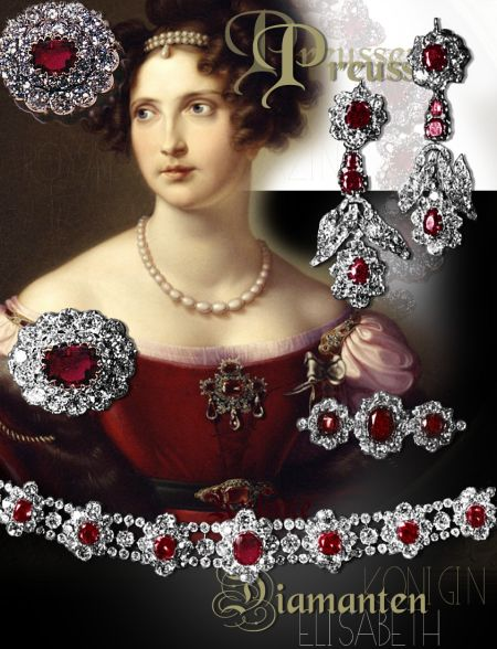 Prussian Ruby Parure | Ruby jewelry, Ruby Parure with ruby collar, Ruby earrings, Ruby bracelet, Ruby Cluster Brooches| Princess Elisabeth of Bavaria, Crown Princess of Prussia | Queen of the Prussian| Hohenzollern-Prussia