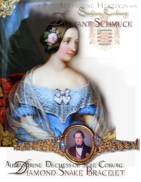 Alexandrine Duchess of Saxe-Coburg-Gotha|Royal Wedding Gift | Duke Ernst Bracelet with Snakes and Medaillon Royal Jewels History