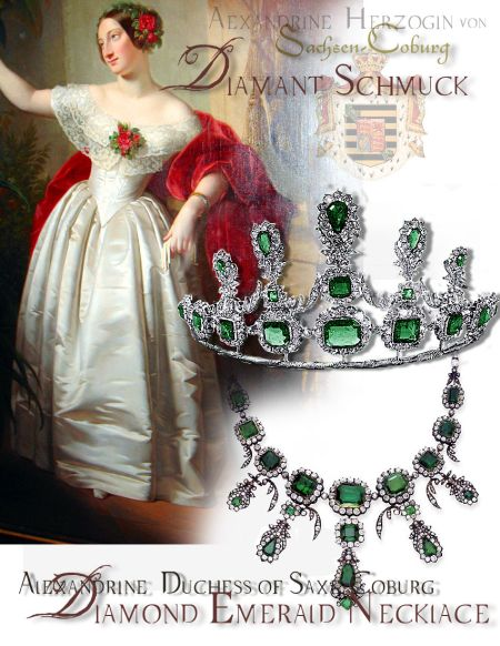Alexandrine Duchess of Sachsen-Coburg-Gotha| Saxe-Coburg-Gotha| Queen Victorias Wedding Gift - Emerald Parure Tiara Necklace  History Saxe-coburg-gotha Germany saxe coburg UK monarchy german