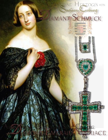 Alexandrine Duchess of Sachsen-Coburg-Gotha| Royal Marriage Saxe-Coburg-Gotha| Royal Emerald Parure Tiara Diadem Cross pendant diamond and emerald heart