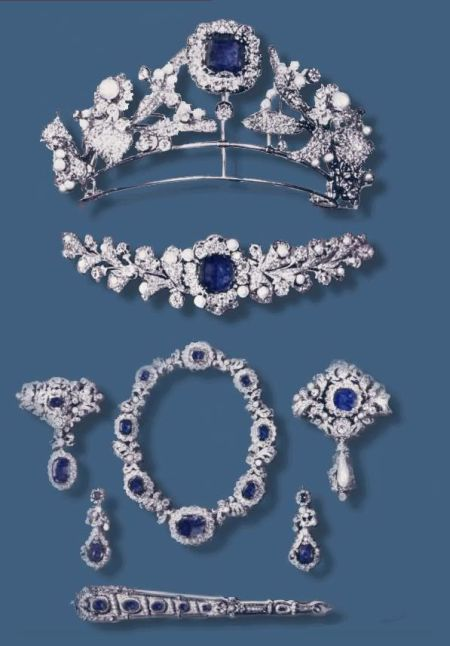 The  Imperial Prussian Sapphire and Diamond  Parure is made from part of the diamond corsage, wedding gift to Queen Elizabeth of Prussia - Princess of Bavaria | Royal Imperial Sapphire Parure - Crown Jewels| Prussia-Preussen
