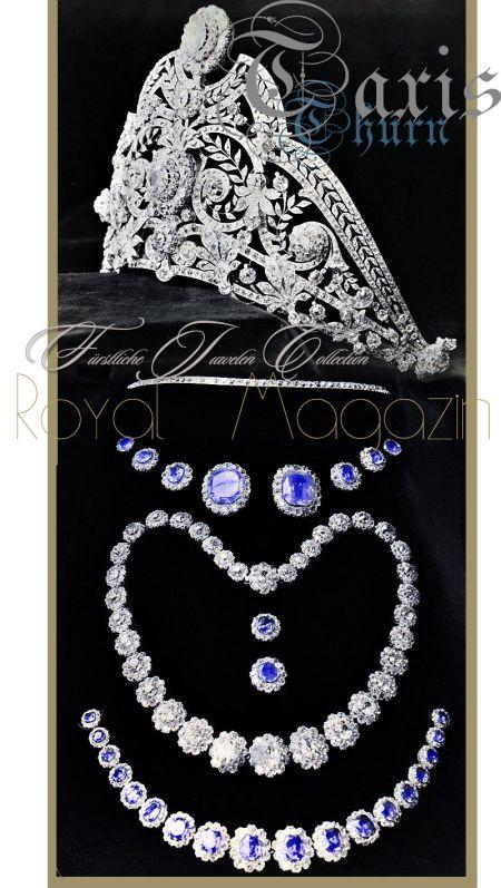 Die Ornamente der Sapphire und Diamant Parure im Detail, historischer Hausschmuck der Fürsten von Thurn & Taxis
