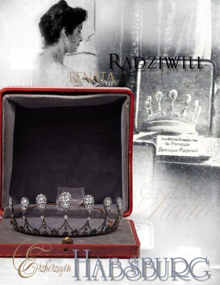 Archduchess Renata of Habsburg |Princess Radziwill |Royal Imperial Jewels |Erzherzogin Renata von Österreich Radziwill Diamond Tiara, Swag Tiara with Diamonds marriage present - later owned by eugenie of Greece, realeza poland, austria, habsburg, greece