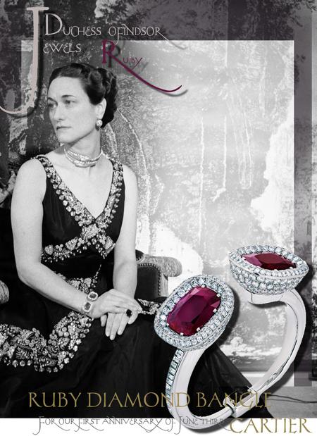 Duchess OF WINDSOR | Wallis Simpson| Ruby and DIAMOND BANGLE CARTIER BRACELET| ROYAL JEWEL HISTORY