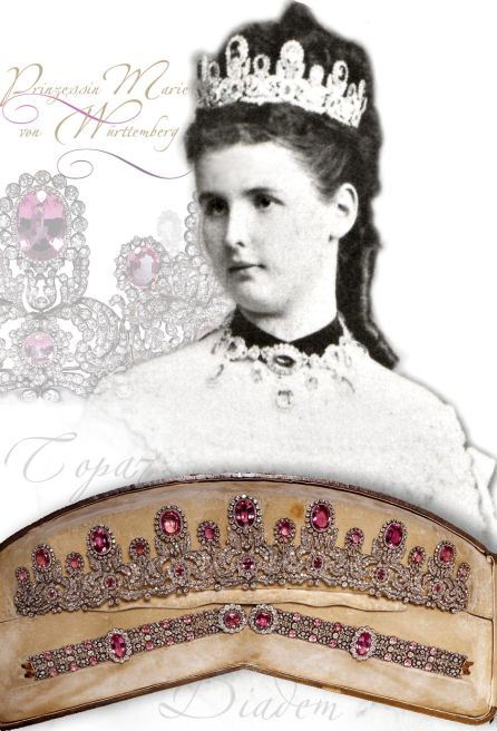 Princess Marie of Wurtemberg Pink Topaz Parure Tiara Napoleons wedding present